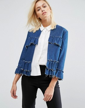 Asos, Asos distressed Denim jacket, Asos Denim ruffle Jacket, Denim