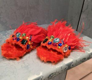 MiuMiu Feathery Sliders, jewelled Sliders, MiuMiu Footwear, orange feather Sliders