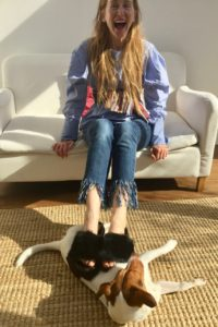 Black Sliders footwear, Topshop Sliders, Jack Russell dog, www.themodeledit.com, Mrs V, Vanessa Voegele-Downing, Jeans, distressed Denim, frayed jeans, red hair, long hair