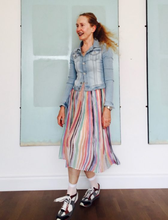 Forever 21, Forever 21 Denim jacket, Jean jacket, Zara pleated skirt, Maison Margiela shoes, designer trainers, pleated skirt, rainbow pattern skirt, Zara S/S 2017