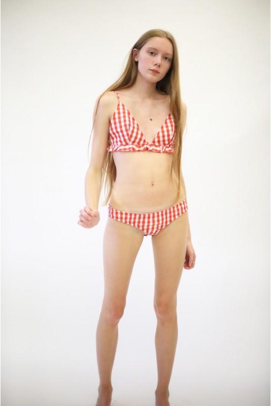 Marques Almeida S/S 2017, Bikini, Marques Almeida designers, Marques Almeida Orange Gingham Bikini