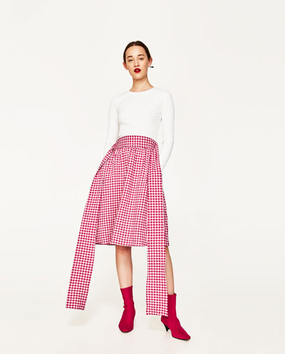 Zara Pink gingham Skirt, Zara S/S 2017