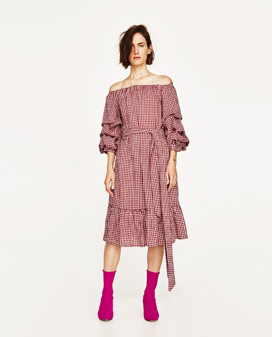 Zara Red Gingham Dress, Gingham, Zara S/S 2017