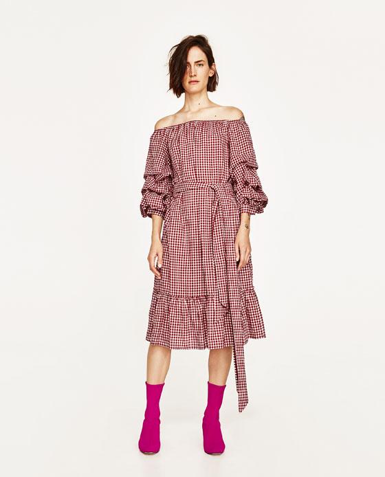 Zara Red Gingham Dress, Gingham, Zara S/S 2017