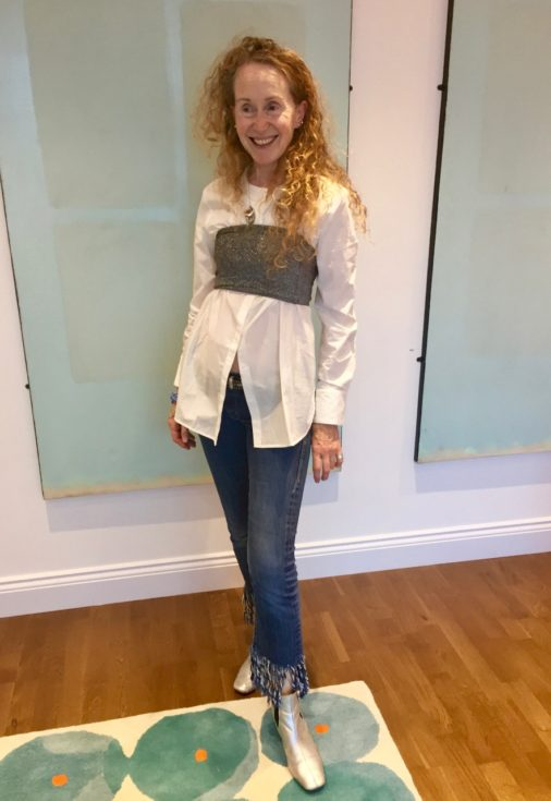 Armani, Armani shirt, white shirt, cotton shirt, designer clothing, denim, silver boots, ankle boots