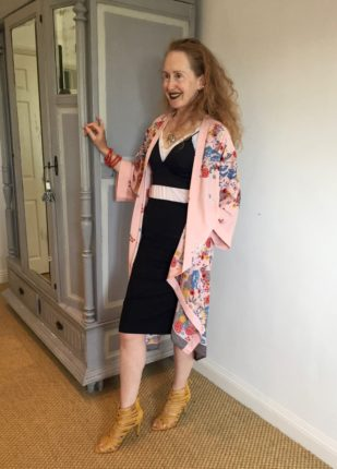 New Look Floral Kimono, Carine Roitfeld, Carine roitfeld black skirt, Pencil skirt, tailored skirt, Dune shoes, high heeled shoes, scrappy sandals