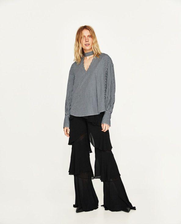 Zara Gingham, Zara S/S 2017, black ruffled trousers, Black Gingham tunic