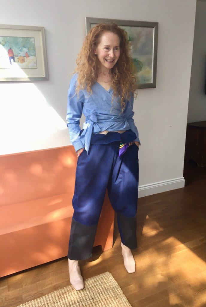 Gingham wraparound shirt, H&M summer 2017, Monki trousers, Monki