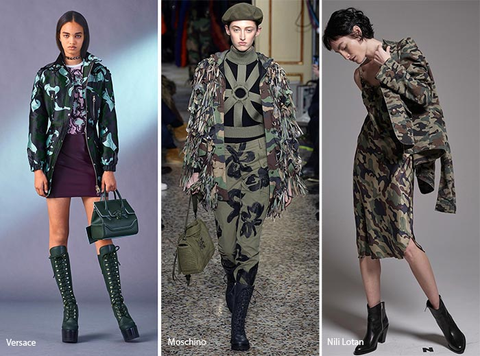 Moschino, Versace, Camouflage print fashion, catwalk, camouflage on the catwalk